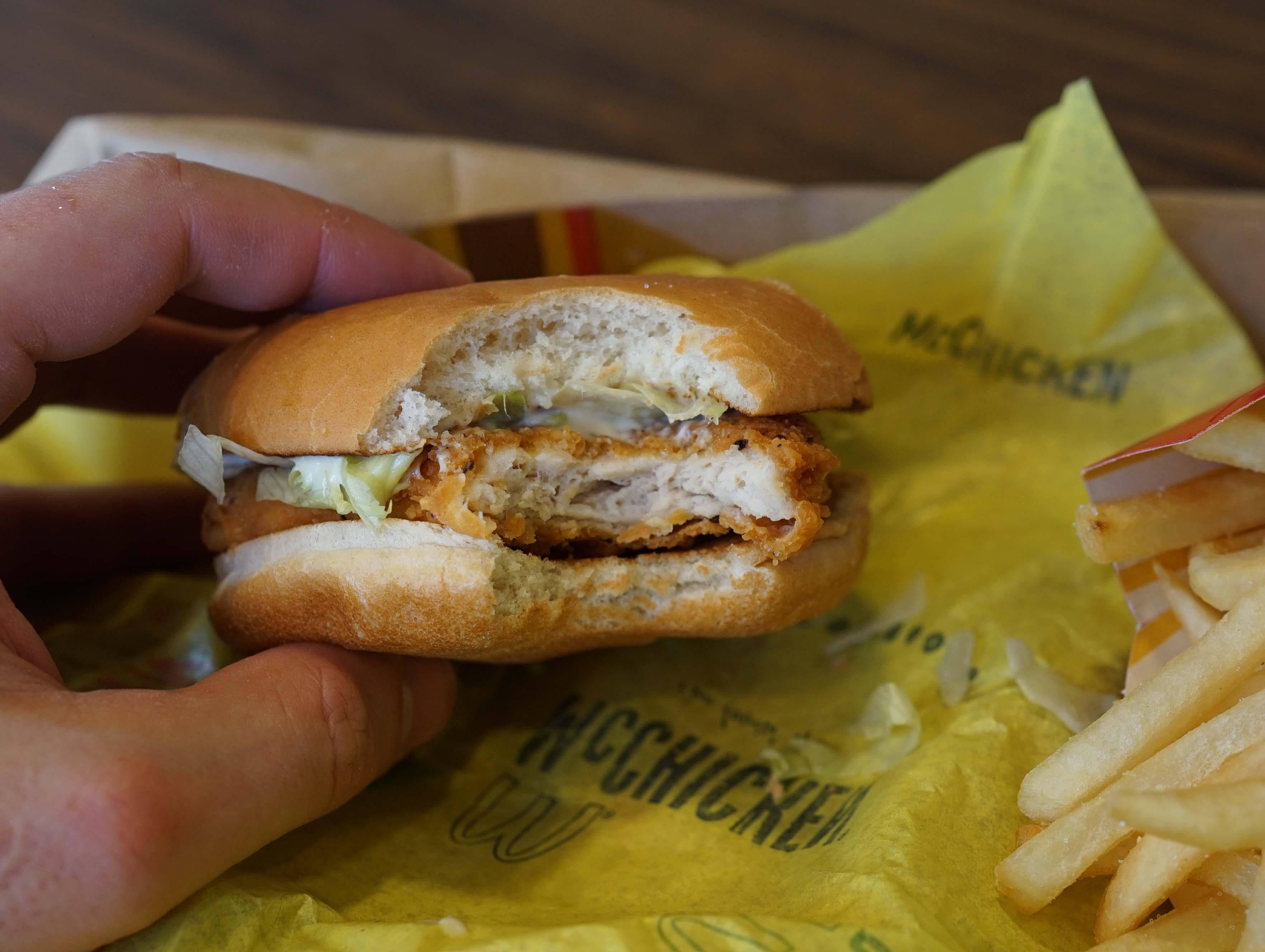McDonalds chicken sandwich bite