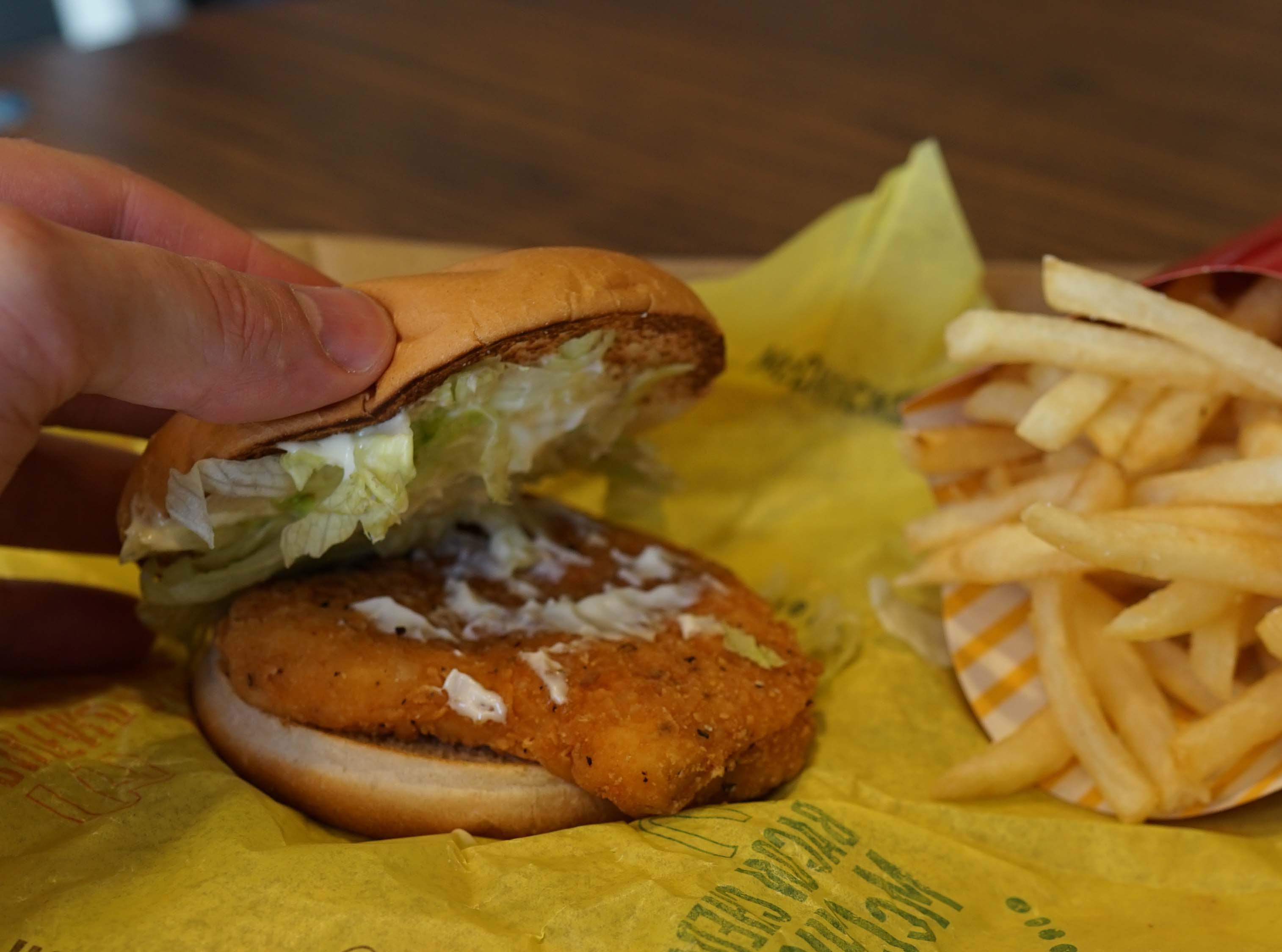 McDonalds chicken sandwich bun lifted