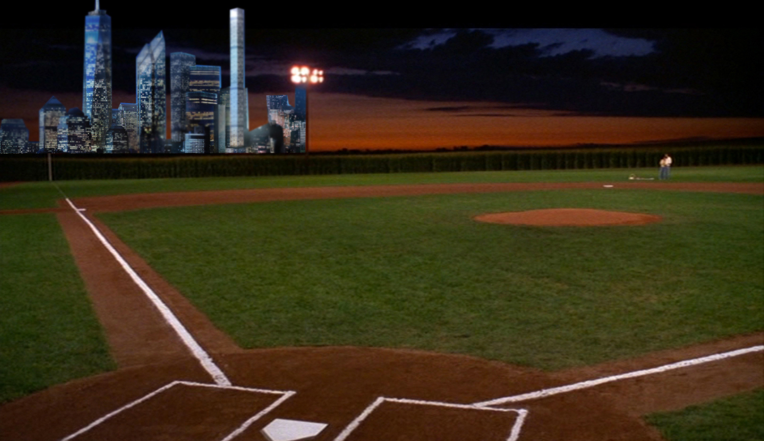 Field of Dreams baseball park with skyscrapers