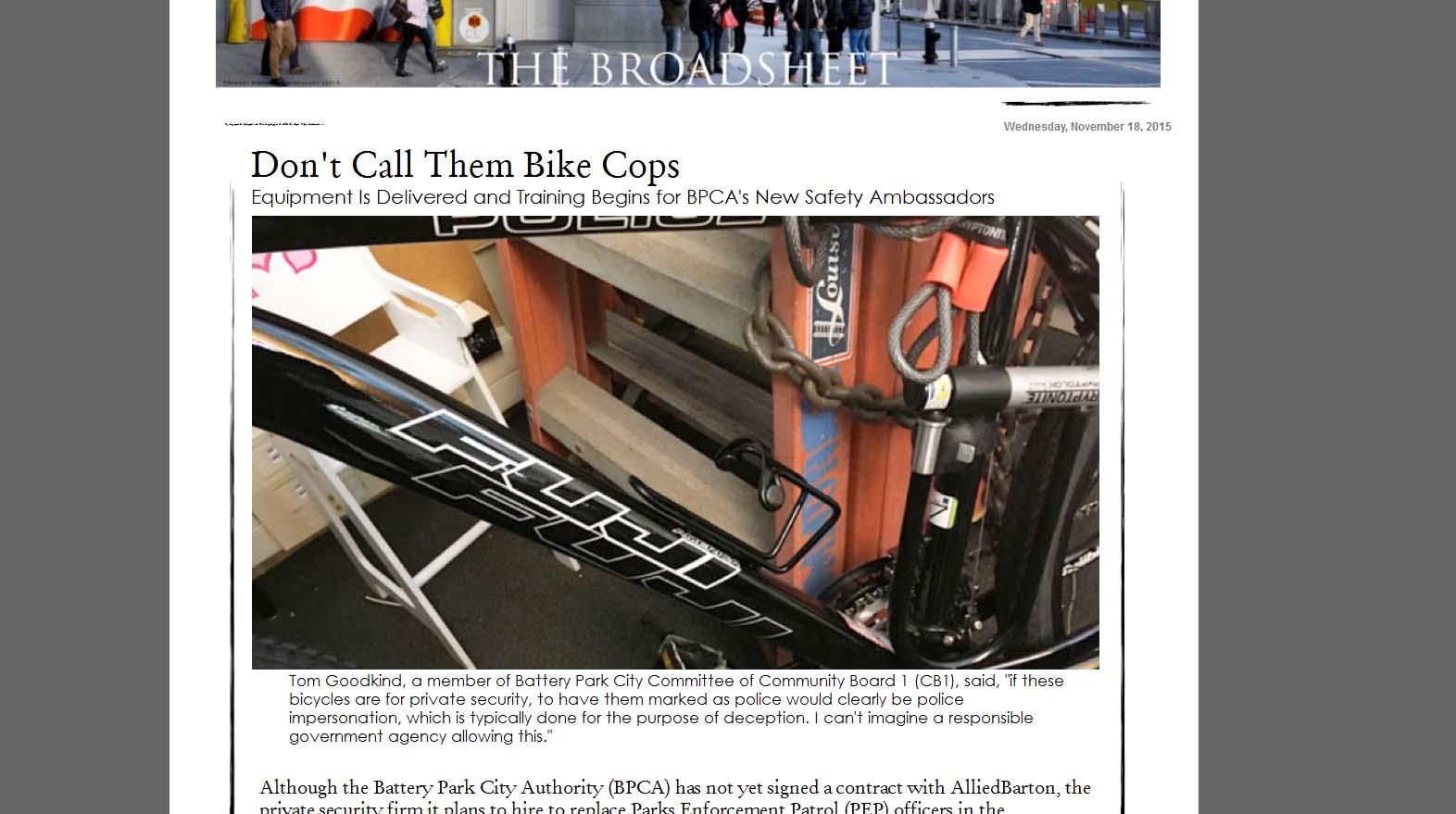 Broadsheet story on police bikes