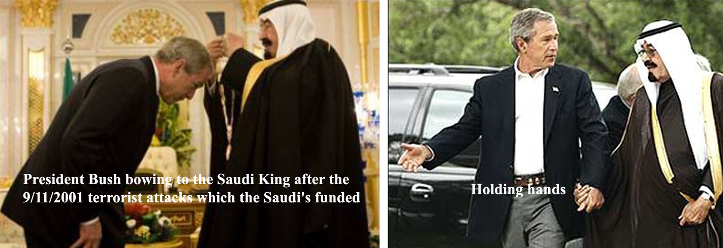 W Bush bowing to saudi king 2003