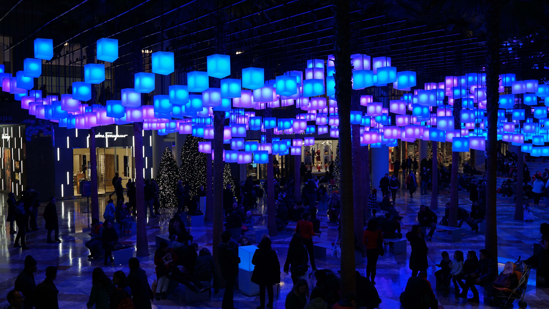 Luminaries from escalator