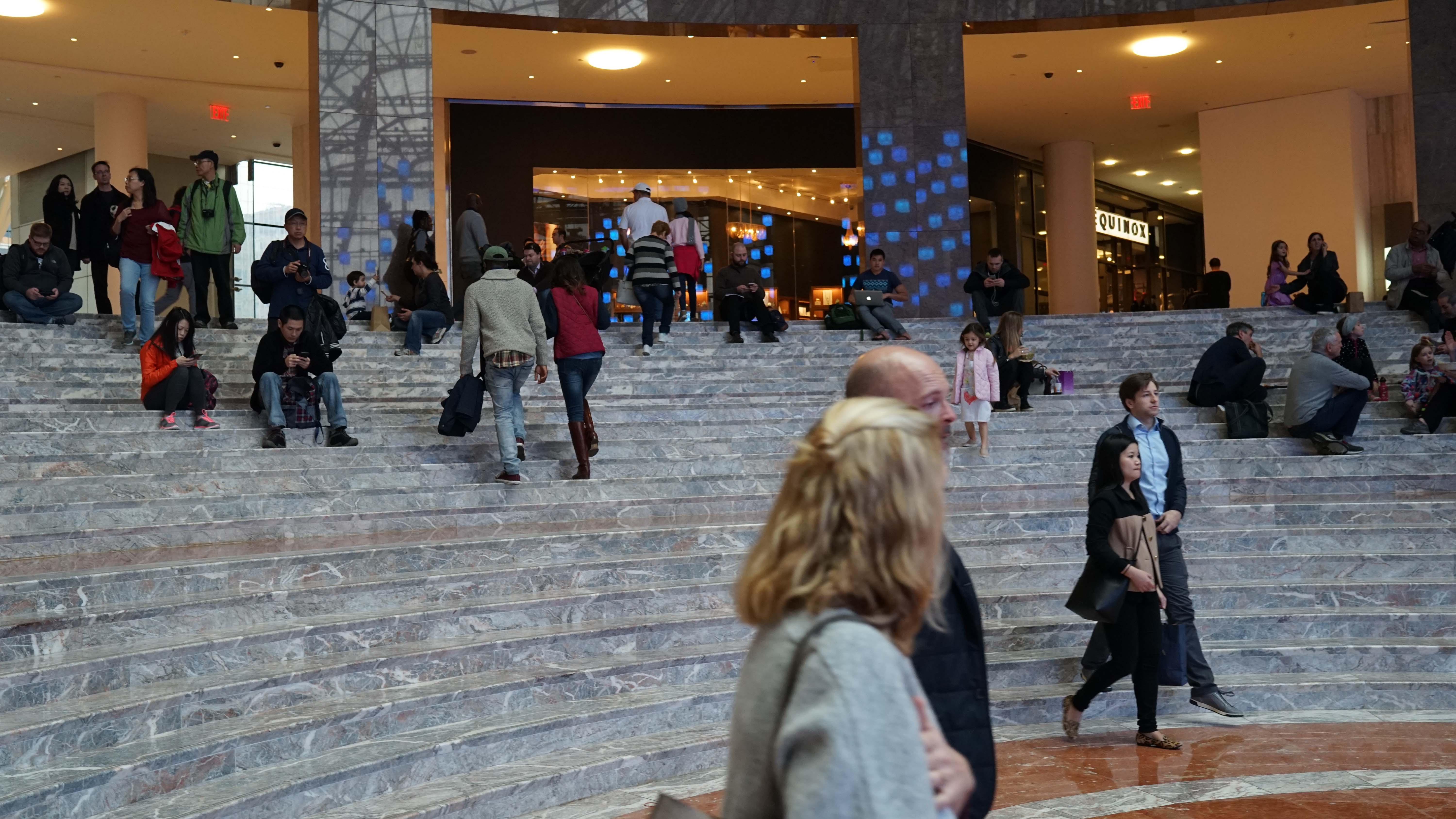 People on marble stairs winter garden 12-12-2015