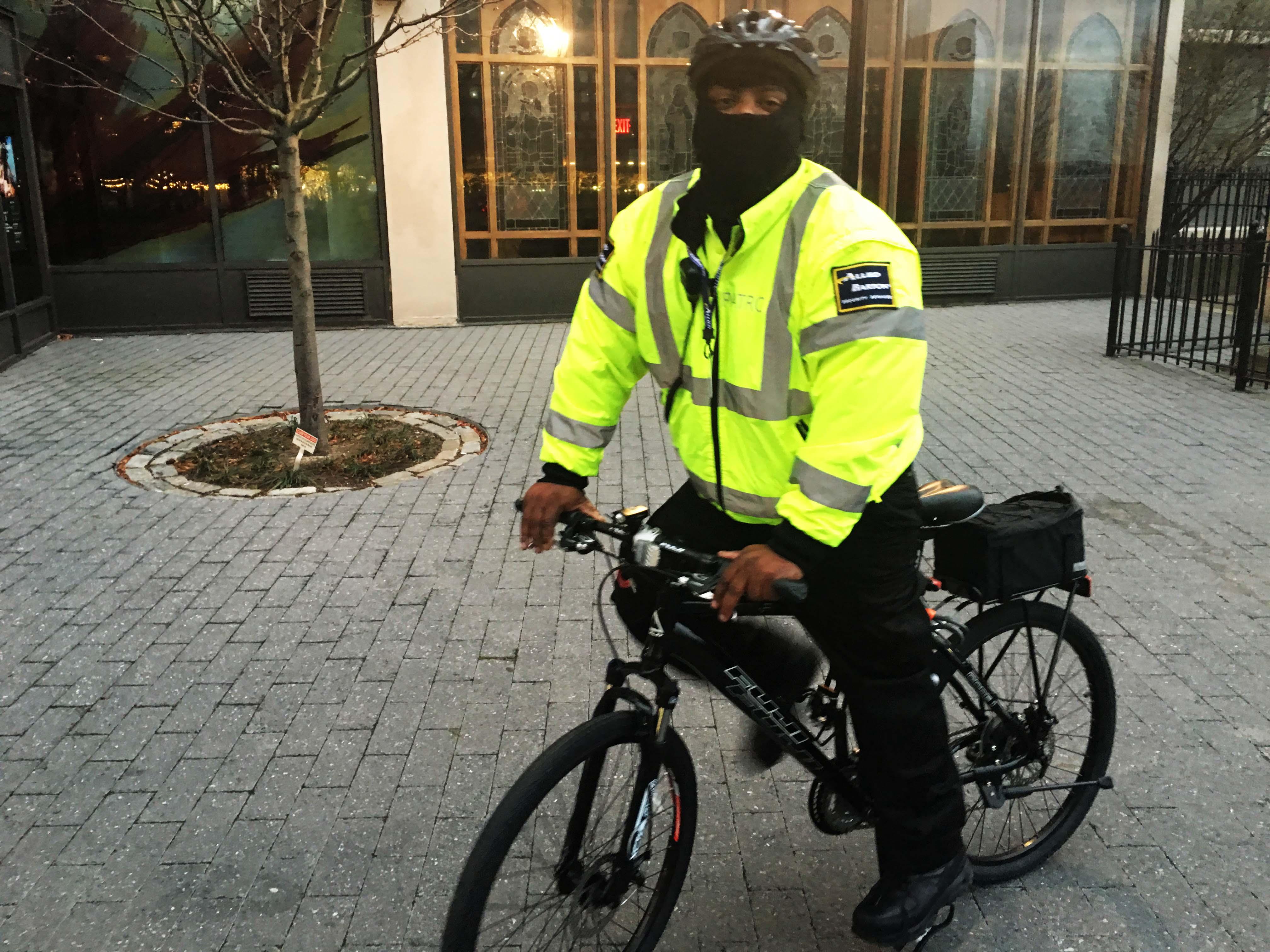 allied barton security guy on bike
