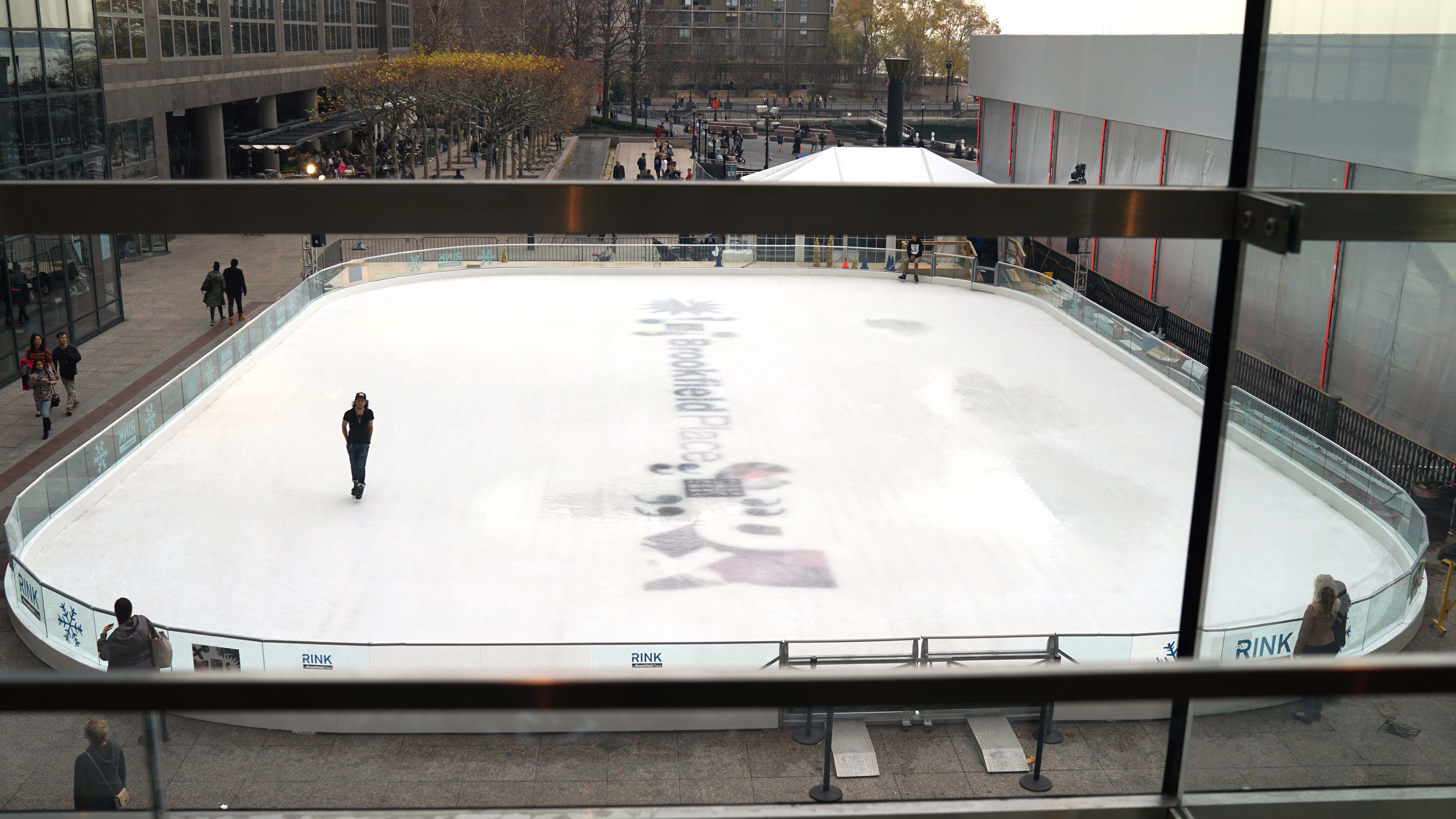 man ice skating in 60 degree weather Brookfield