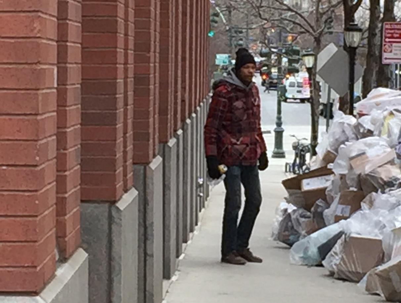 menacing homeless guy on warren street