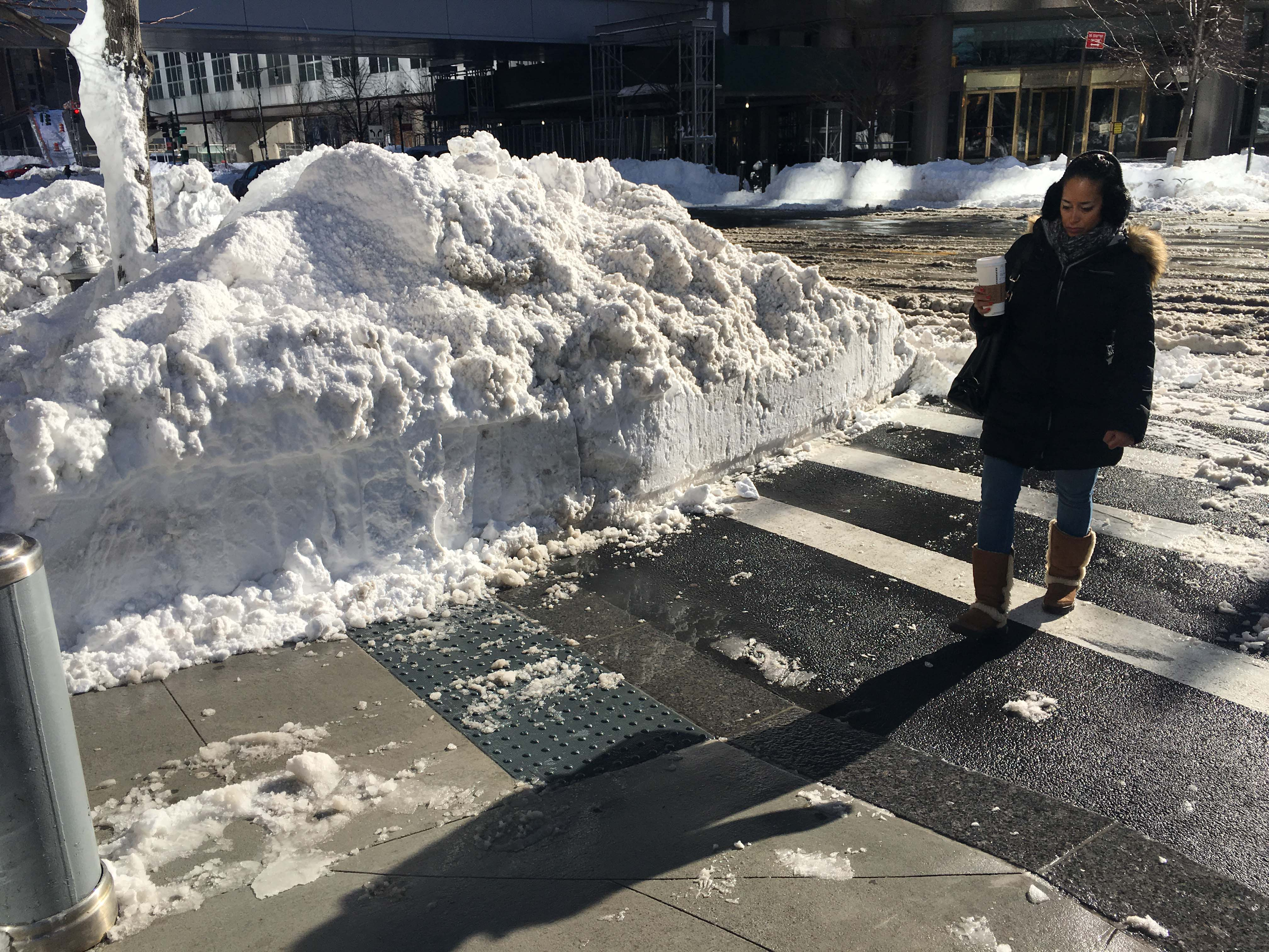 Brookfield circle walkway curb cleared of snow