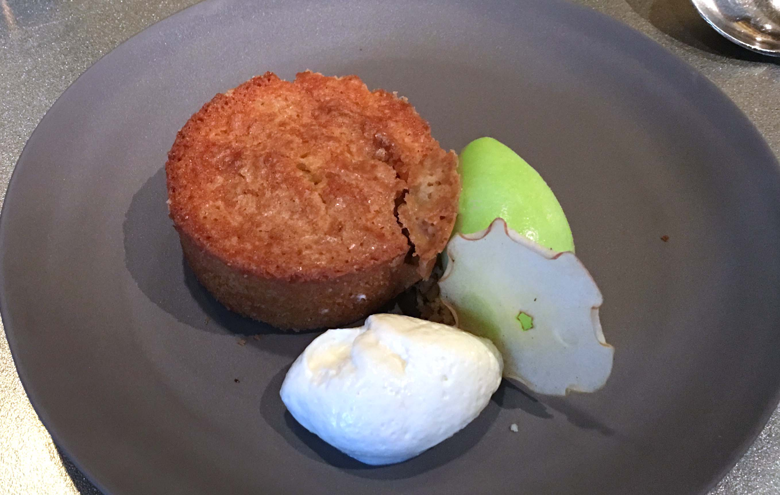 Jean Georges almond cake and apple ice cream