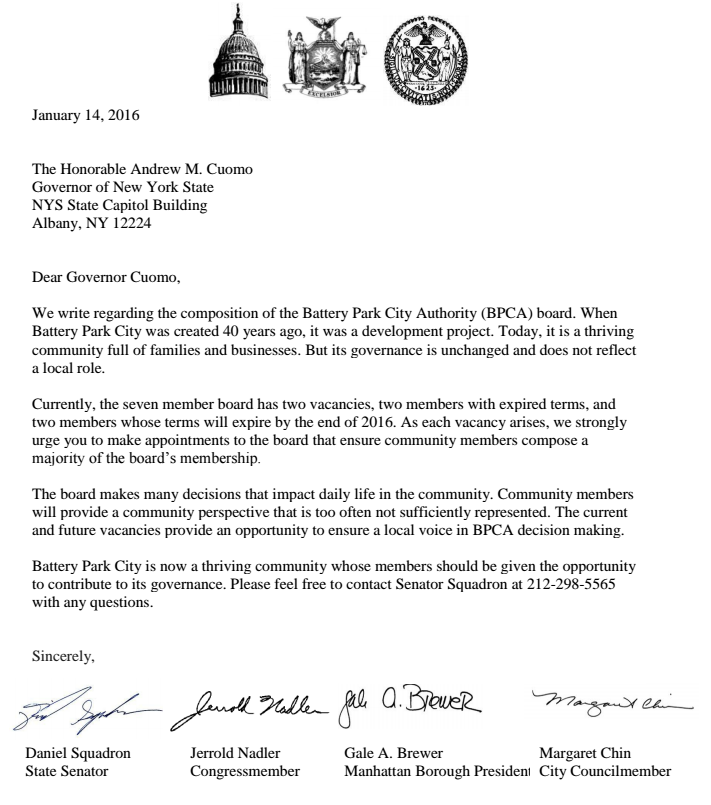 Squadron letter to Cuomo about BPCA