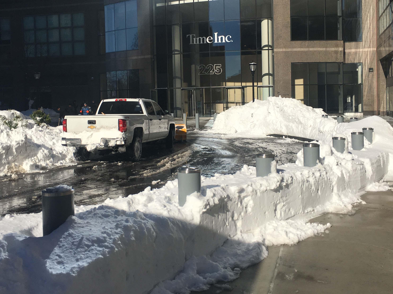snow plowed at Brookfield circle