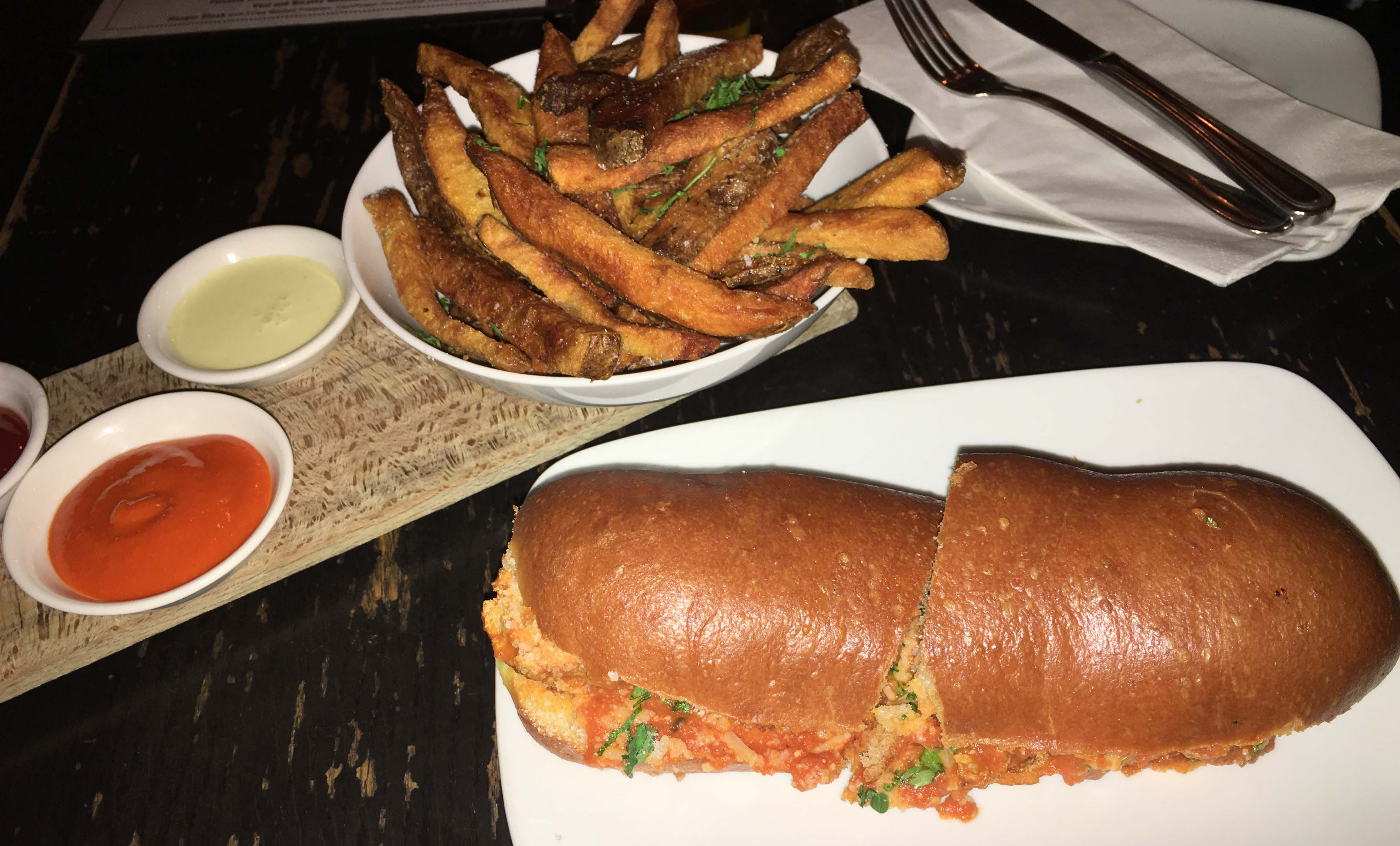 Terroir meatball sandwich and fries