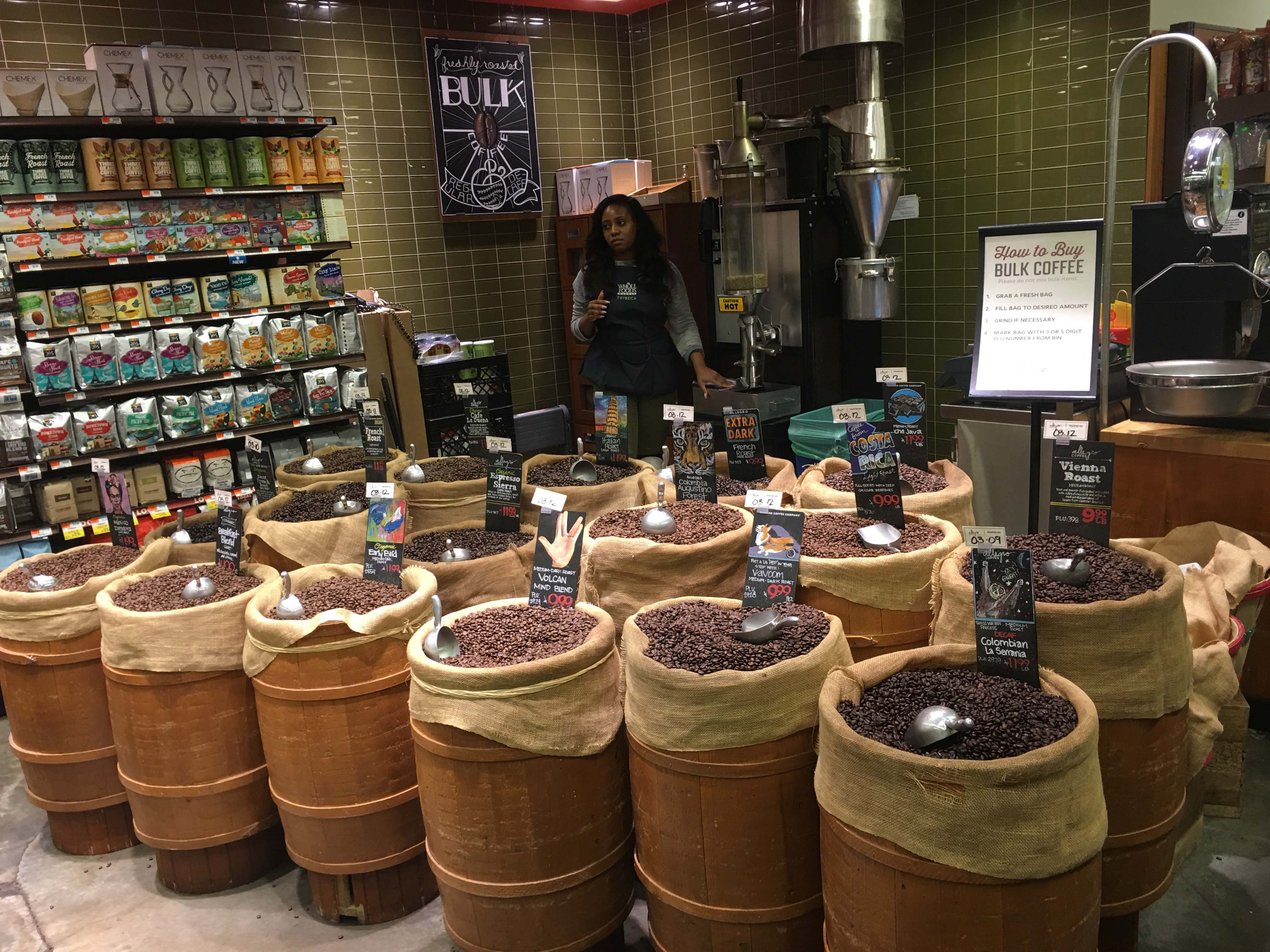 Whole Foods coffee section
