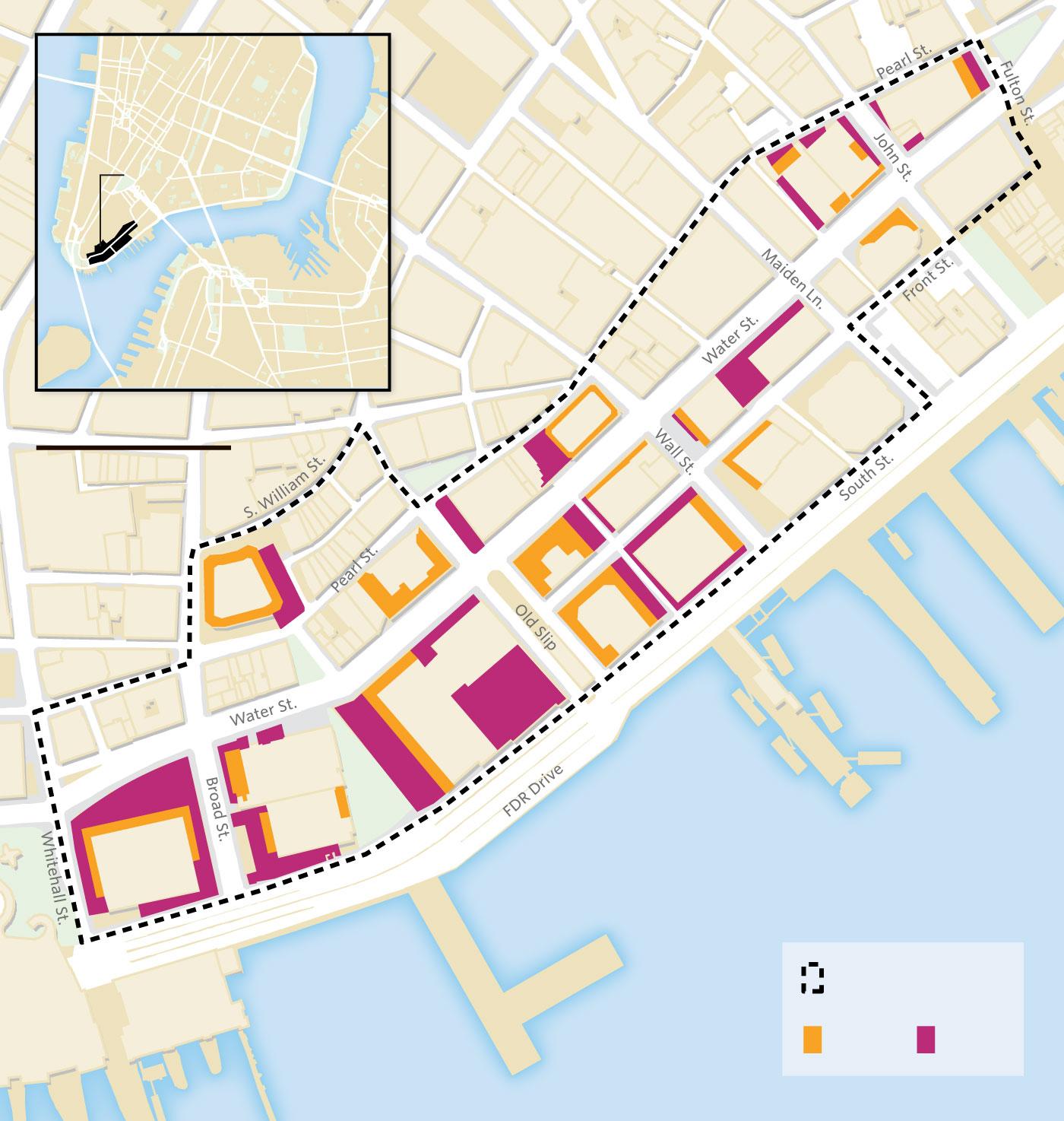 map of public spaces in FiDi