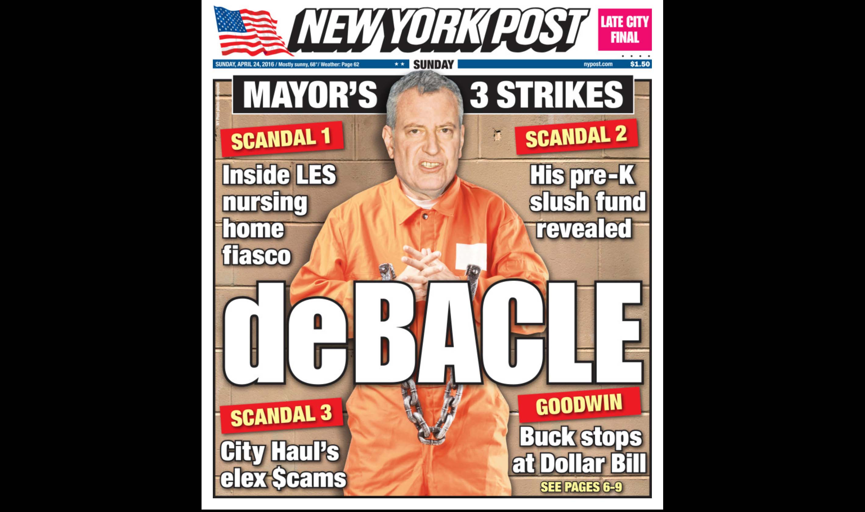 de Blasion NY Post cover wearing orange