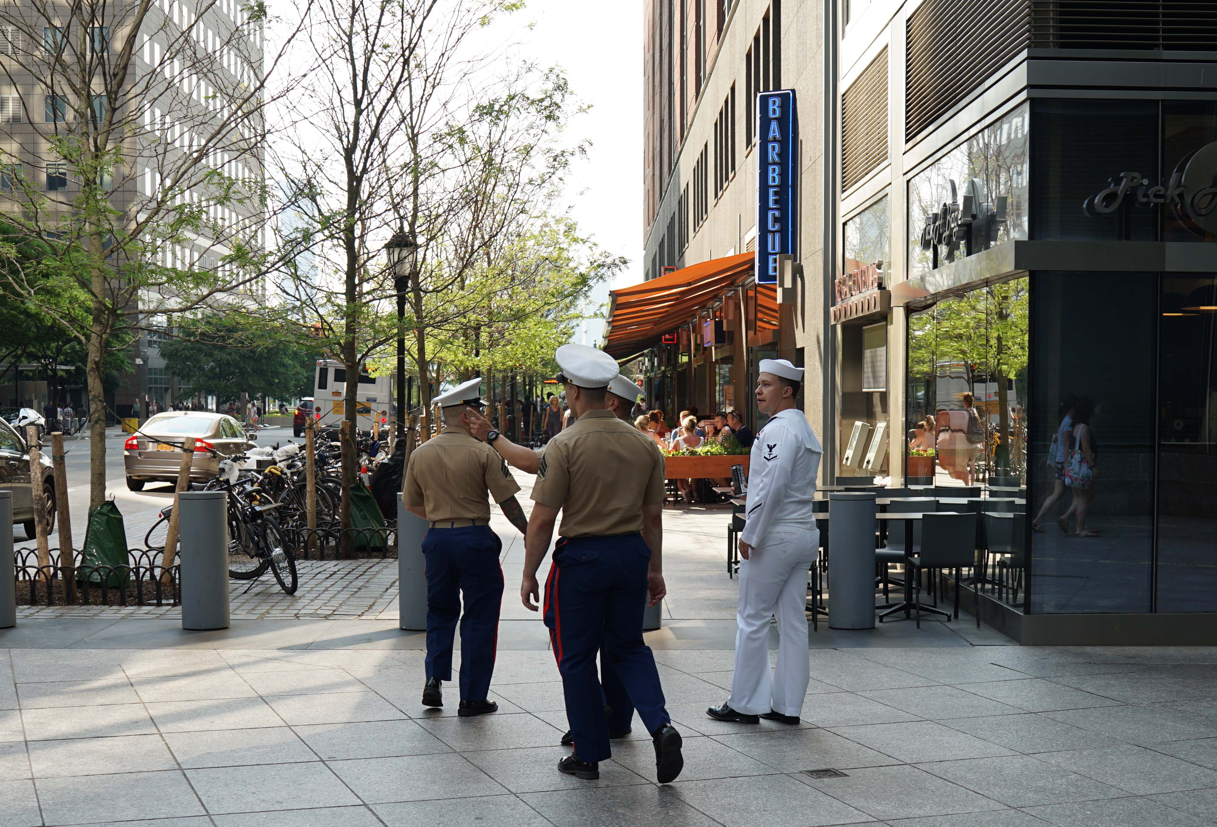 Marines and sailors on vesey Street