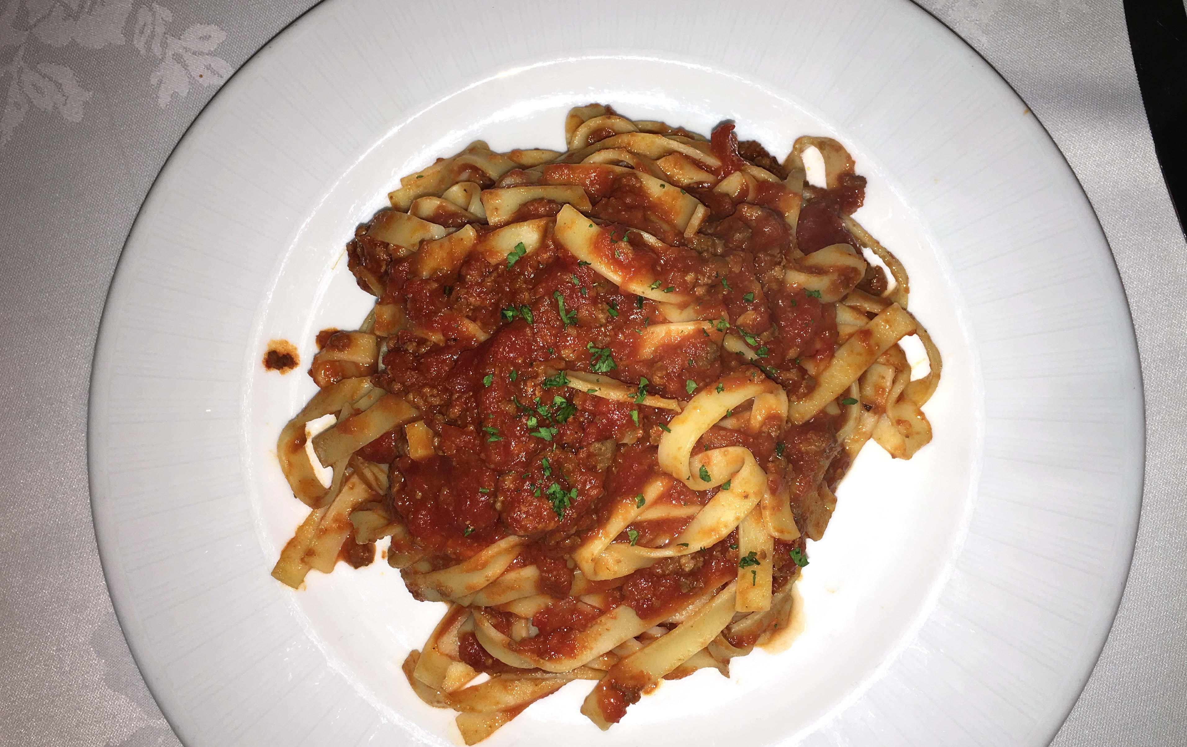 Mulino tagliatelli meat sauce top