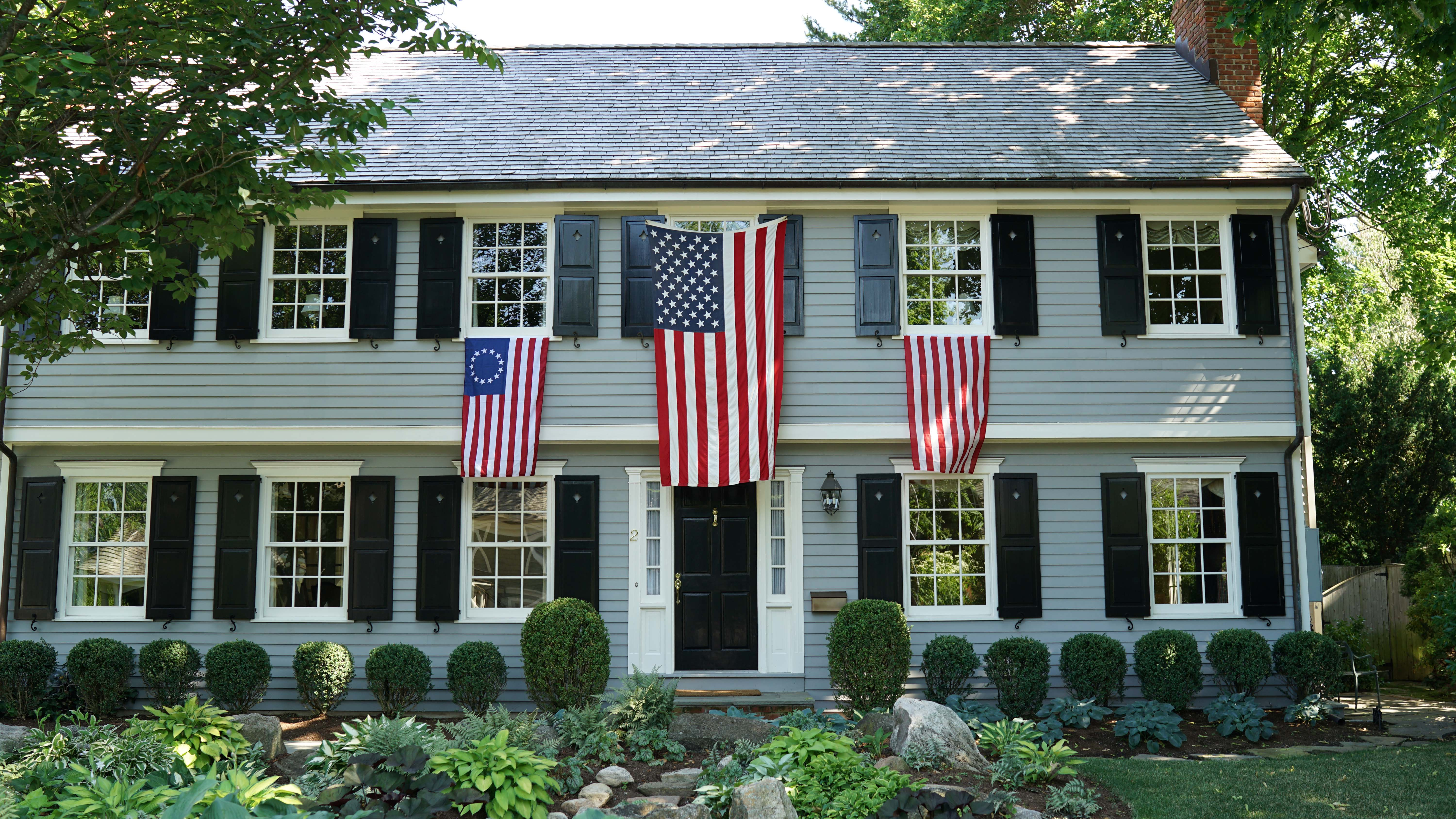 American flags on house 3