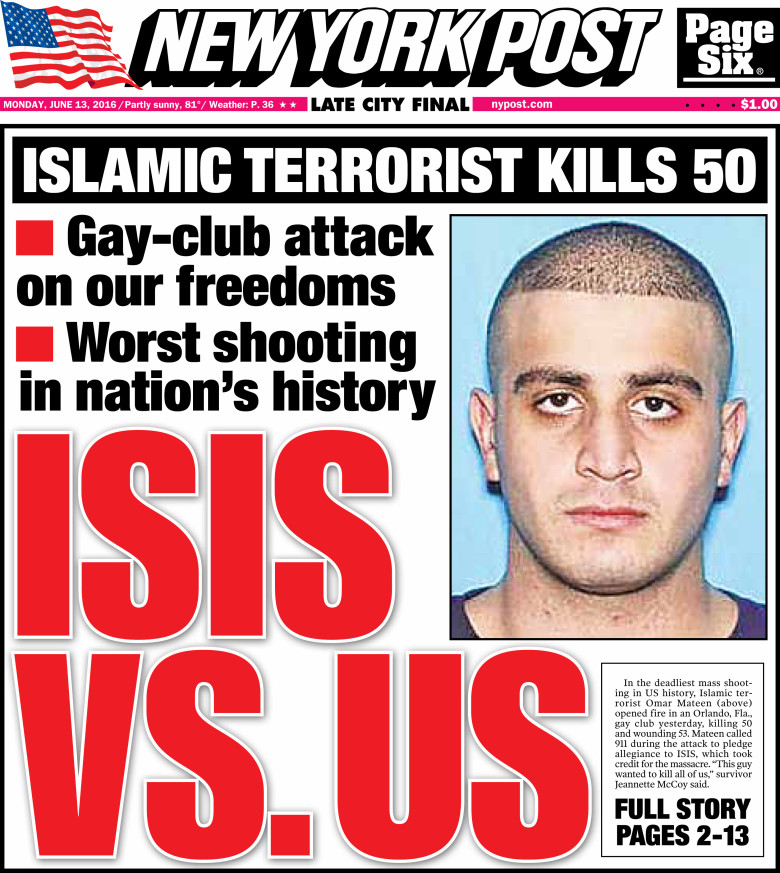 Post cover on Orlando shooter