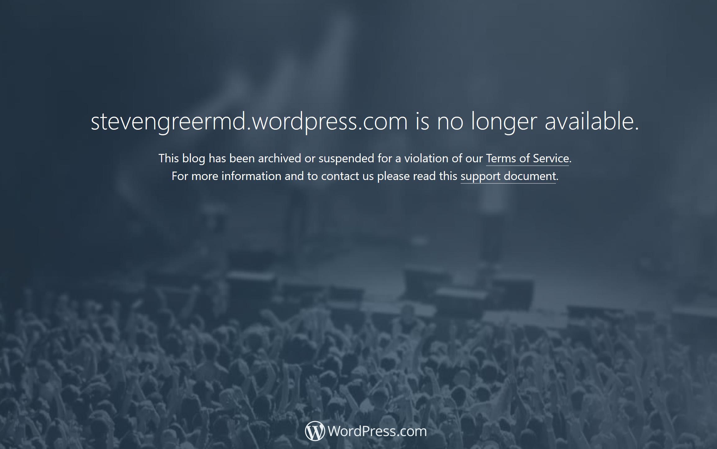Wordpress Steven Greer site taken down notice