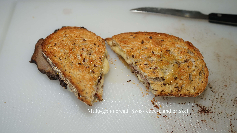 Multigrain bread and brisket sandwich