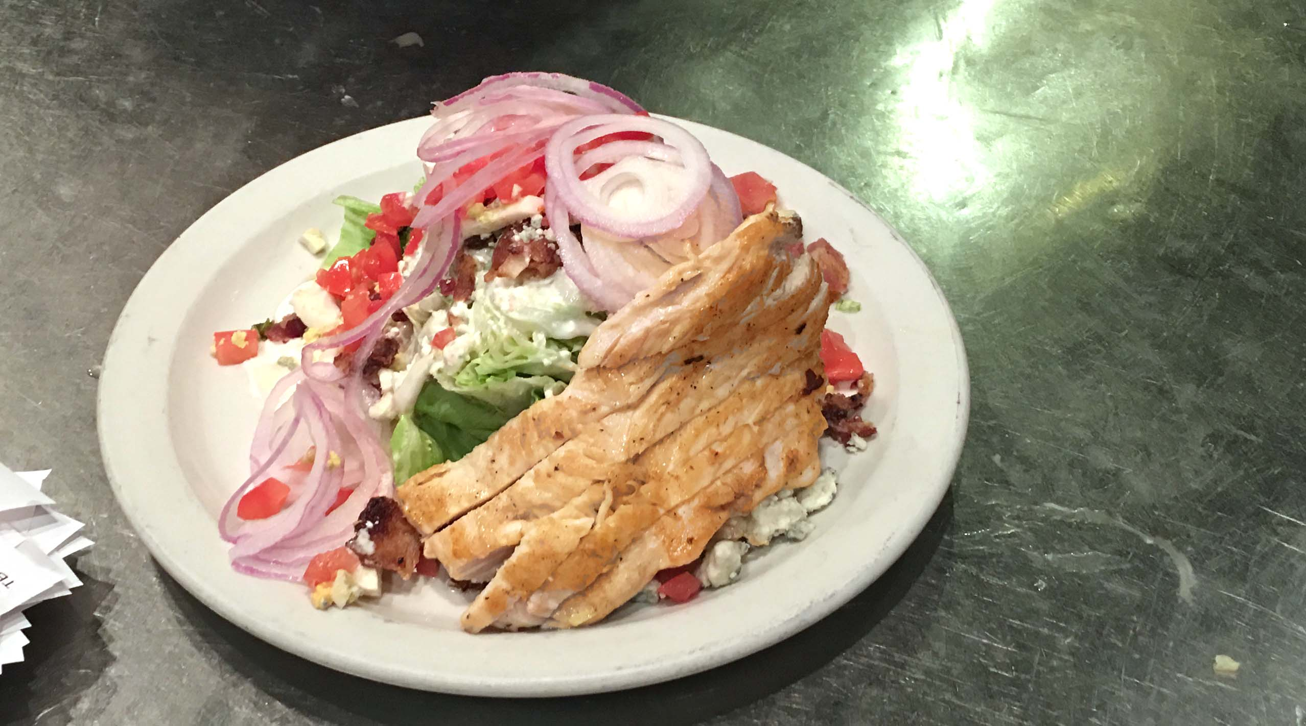 Press grill wedge salad and chicken